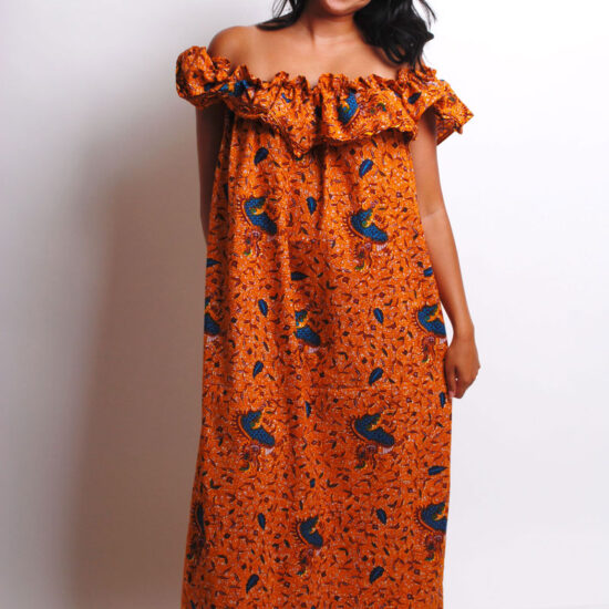 off shoulder ankara maxi dress