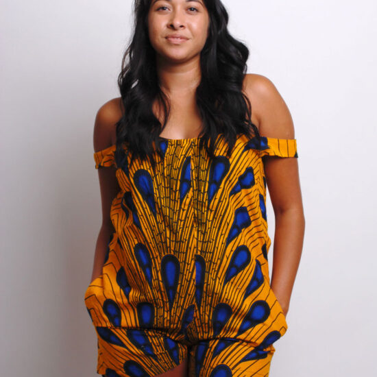 off shoulder ankara romper