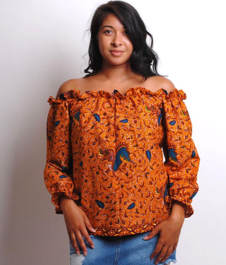 long sleeve ankara blouse