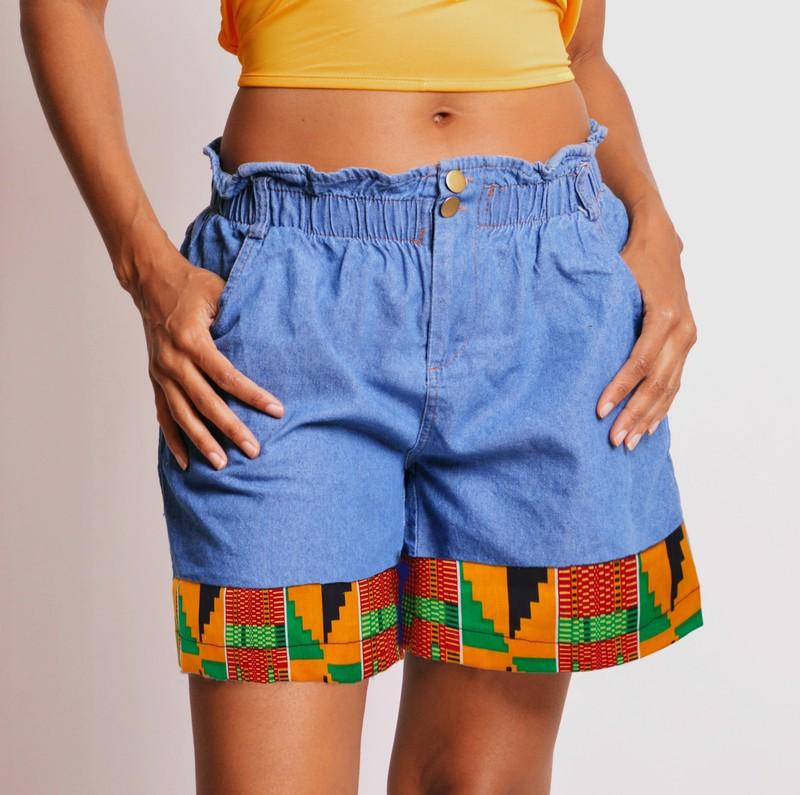 Refashioned Patchwork Denim Shorts